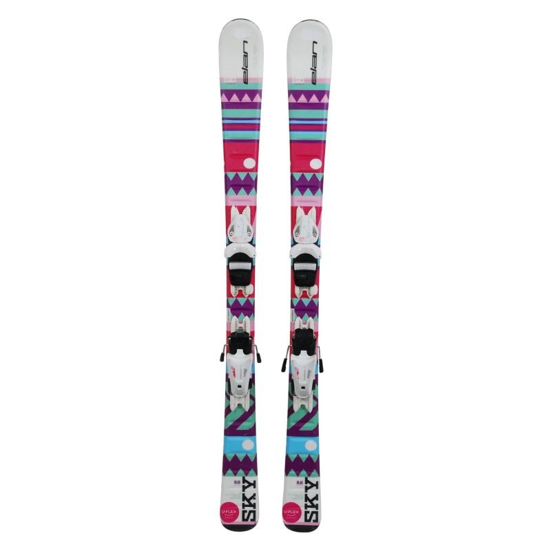 Ski occasion junior Elan Sky rose/violet + fixations - Qualité A