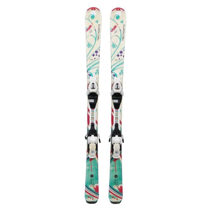 Ski occasion junior Tecno pro Sweety fleurs pastel + fixations