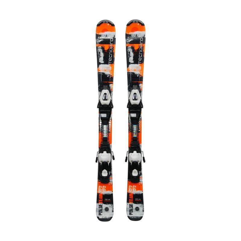 Ski occasion junior Tecno pro Pulse Team noir/orange + fixations - Qualité A