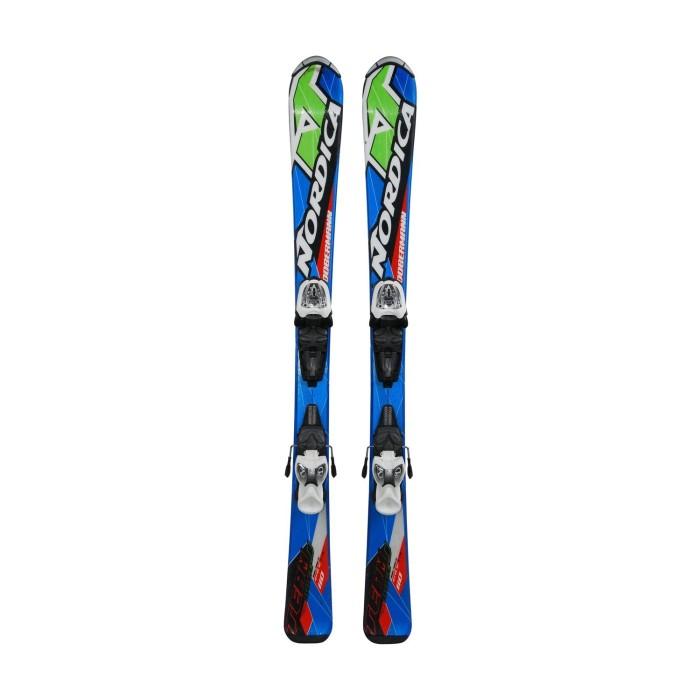 Skifahren junior Nordica Dobermann team race J blau/grün/rot + Befestigungen