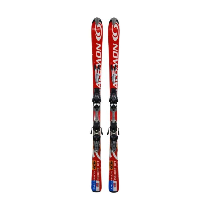 Gebrauchte Ski für Junior Solomon 8T 10T rot weiß + Befestigungen