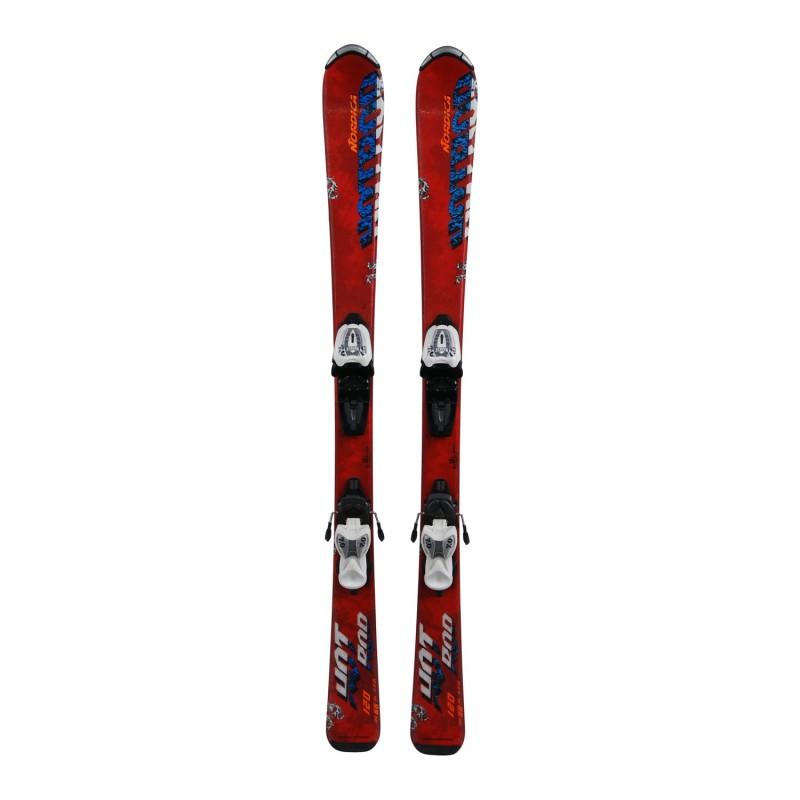 Ski occasion junior Nordica Hot Rod + fixations - Qualité A