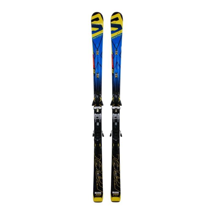 Ski occasion junior Salomon Equipe Race GS powerline + fixations
